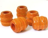 Maple Barrel Shape Wooden Macrame Beads - maple tan large hole beads - 25 x 23mm - 6 pieces