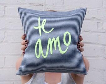 SALE Te Amo Pillow, Navy and Cream Stripes with Neon Yellow appliqué