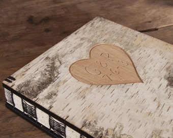wedding guest book with carved birch bark wood covers - fall wedding natural forest wedding personalized rustic botanical- made to order
