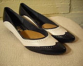 Navy and White Spectator Pumps, wing tip, brogue style, kitten heel pump, Selby Size 9 Narrow, Made in the U.S.A.