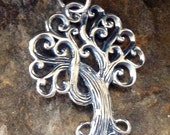 Sterling Silver Textured Tree of Life Charm with Curly Branches - P17