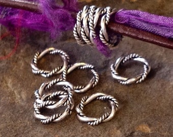 STERLING SILVER Twisted Jump Rings - 10 Double Wire - 7.8mm Oxidized Links or Large Hole Spacer Beads 5.2mm ID L49