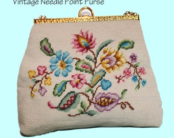 Vintage Needle Point Brass Handle Purse