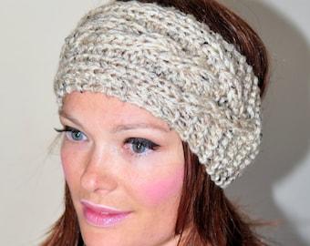 Ear Warmer Braided Crochet Headband Cabled Head wrap Earwarmer CHOOSE COLOR Oatmeal Beige Eco Neutral Nature Gift under 50