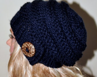 Slouchy Hat Slouch Beanie Button Hand Knit Winter Adult Teen Wool CHOOSE COLOR Navy Dark Blue Chunky Gift
