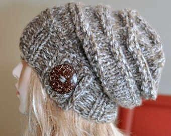 Slouchy Beanie Women Slouchy Hat Button Knit Crochet Winter Women Hat Wool CHOOSE COLOR Birch Brown Tweed Girly Christmas Gift under 50