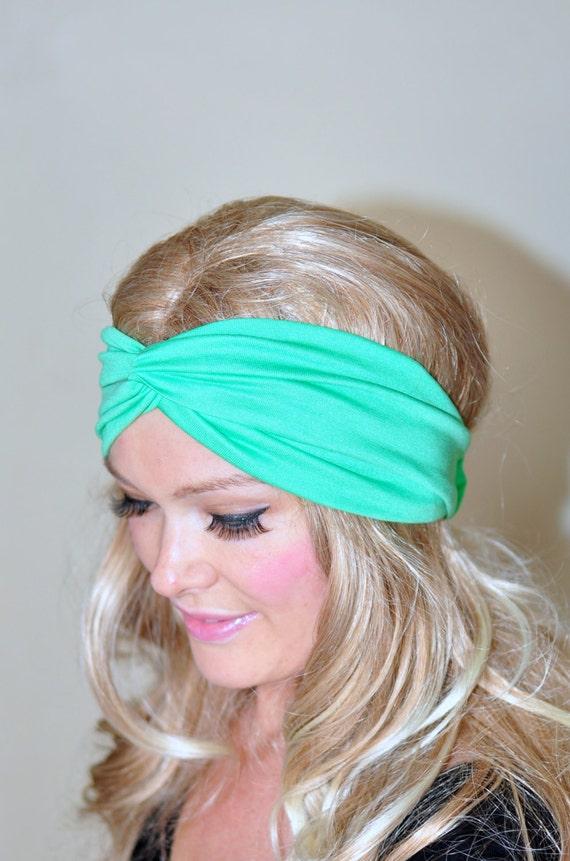 Mint Green Turban Headband Neon Mint Turban Headwrap Twist  Lime Green Mint Fashion Girly Romantic Mothers Day gift under 25