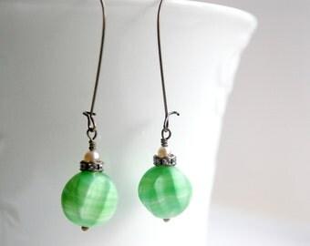 Upcycled Earrings, Green Vintage Glass Earrings, Brass Earrings, Repurposed Earrings, Retro Earrings