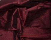Dark Wine Red / Burgundy / Brown Pure Silk Dupioni,Fat Quarter-D 22