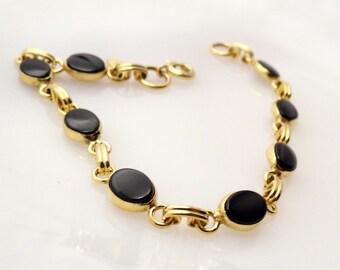 Vintage 12K GF Oynx Bracelet NOS