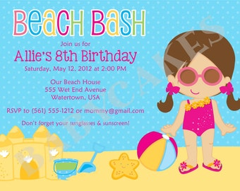 Beach Party Birthday Invitation - Choose your girl - DIY Print Your Own - Matching party printables available