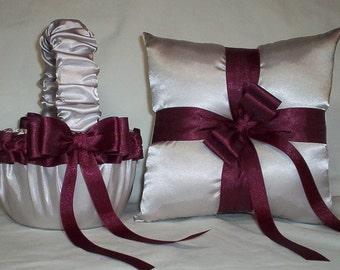 Silver Satin With Burgandy Ribbon Trim Flower Girl Basket And Ring Bearer Pillow