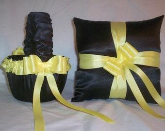 Black Satin With Yellow Ribbon Trim  Flower Girl Basket And Ring Bearer Pillow Set 1
