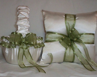 Ivory Cream Satin With Sage Green Ribbon Trim Flower Girl Basket And Ring Bearer Pillow Set 1