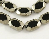 Glass Beads Faceted Glass Beads Rectangle Beads Black Silver Beads Electroplated Beads 1 strand 22 pieces