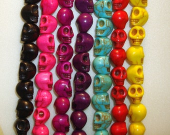 Skull Turquoise Howlite  Beads Gemstone Mixed Color 10x10mm.