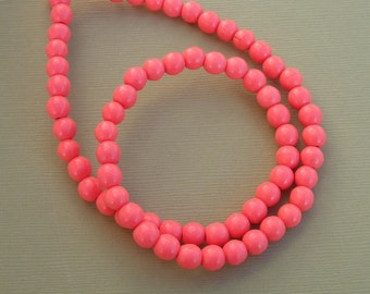 Natural Pink Coral Beads Round - 6mm  - 16 inch Strand (about 66 beads).