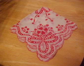 Vintage Hearts and Ribbons or Valentine Hankie or Handkerchief