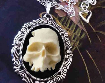 Half Skull 3D Cameo Necklace - Ivory Black Zombie Cameo Pendant