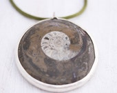 Big green necklace,fossil necklace, natural green, silver pendant