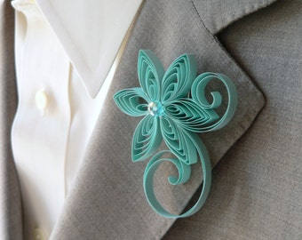 Grayed Jade Boutonniere, Grayed Jade Buttonhole, Jade Wedding, Mens Wedding Boutonnieres