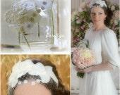 Orchid Hair Fascinator Bridal Headband - Ivory Head Piece with Netting - Rivki