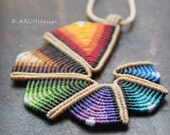 Big Colorful Statement Fiber Pendant RAINBOW SPIRAL, knotted by ARUMIdesign