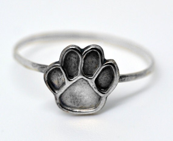 Silver Plated Paw Print, Handmade Silver Ring, Animal Jewelry, Unisex Animal Ring
