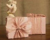 Shabby Chic Mini Gift Box with Dupioni Silk. Shown in Dusty Rose Pink.