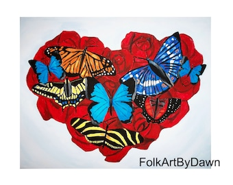 Heart Decoration Valentine's Day Painting Butterfly Art Roses Flowers canvas