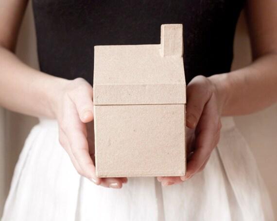 Kraft Cottage - Simple Paper Mache House Shaped Box, U-Decorate