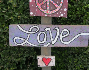 Peace Love on Reclaimed fence pickets Ready to Ship today