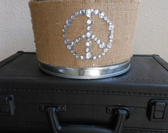 PEACE sign BUCKET 5 Qt Handpainted  Ready To SHIP magazines bucket, storage bucket/shabby chic bucket