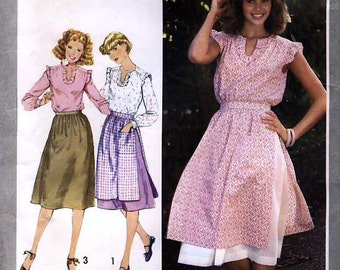 Simplicity 8515 Vintage 70s Misses' Pullover Blouse, Layered Skirt and Skirt Sewing Pattern - Uncut - Size 10 - Bust 32.5