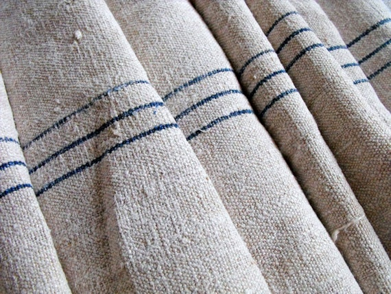 Vintage Linen Grain Sack Fabric Length Of 162 Inches Or 13 1 2