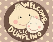 New Baby Card, Little Dumpling, Girl, Boy, or Gender Neutral Baby, Cute, Kawaii Card