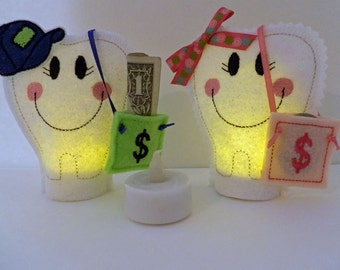 Tooth Fairy, Set of Two, Personalized Tooth Fairy Tea Lights, Illuminated Tooth Fairy, Tooth Fairy Pillow