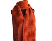Sale 20%: Winter Knitted Scarf Pumpkin orange, Handmade scarf, Merino Wool, Extra thick and warm, Men, Women