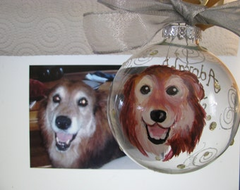 Memorial Custom Painted Pet  Cartoon Portrait Ornament Animal Portrait OOAK Personalized Cat Dog