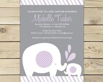 Purple Elephant Baby Shower Invitation Printable - Girl Elephant Baby Shower Invites - Lavender Baby Shower Invitations - Girl Baby Shower