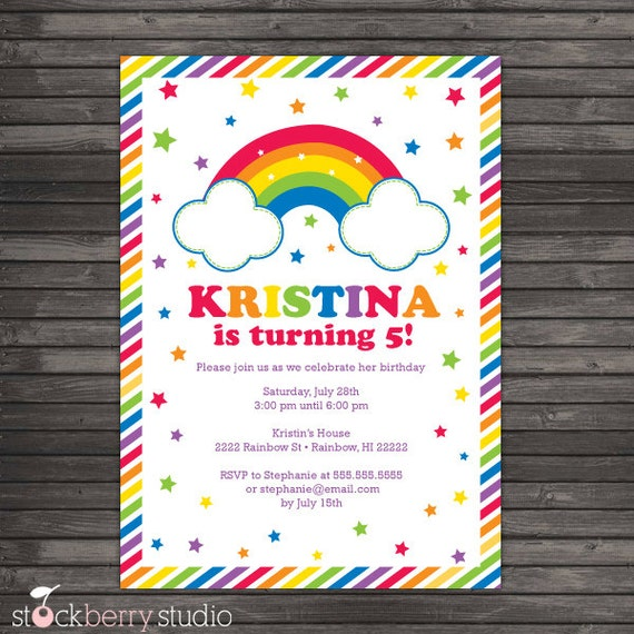 rainbow birthday invitation printable  rainbow birthday party, Birthday invitations