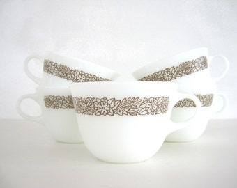 Pyrex Woodland Brown Coffee Tea Cups Set