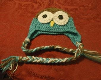crochet baby owl hat, newborn, braided ties