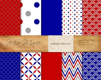 INSTANT DOWNLOAD - Digital Papers Scrapbooking Backgrounds red, white, blue, gray, July, Fourth, 4th, dots, chevron, herringbone