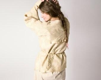 Felted jacket kimono beige cream, nunofelting, fashion clothing, size M-L, OOAK