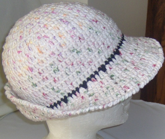 Crochet summer hat with brim for women and teen
