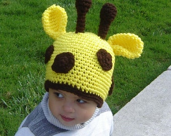 PDF Instant Download Crochet Pattern No039 Spotted Giraffe Beanie all sizes from baby to adult