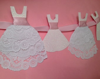 Wedding Garland with Ruffles/ Lace white pale pink ribbon