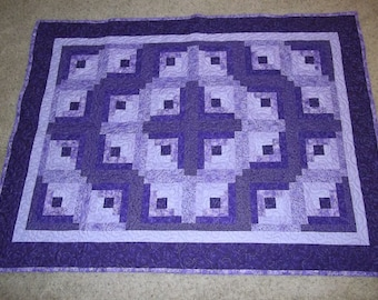 Purely Purple Log Cabin Patchwork Quilt