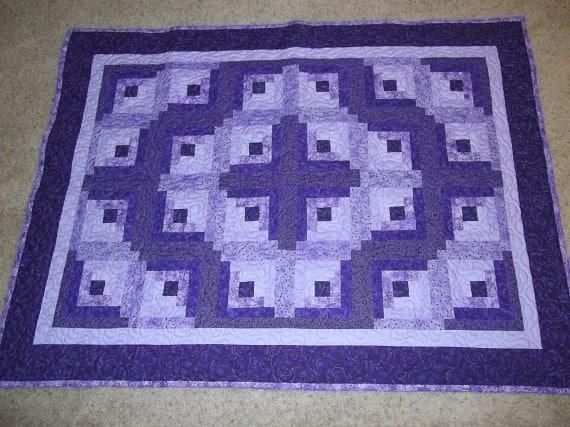 Purely Purple Log Cabin Patchwork Quilt